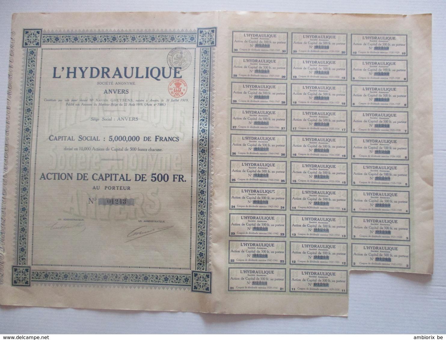 L'Hydraulique - Anvers - Action De Capital De 500 Fr - Industrie