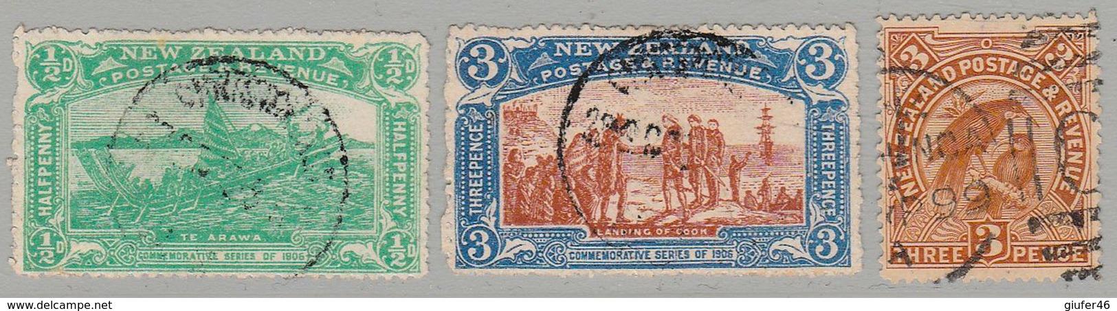 Nuova Zelanda - 1906 - N, 126 / 128 / 130 - Usati