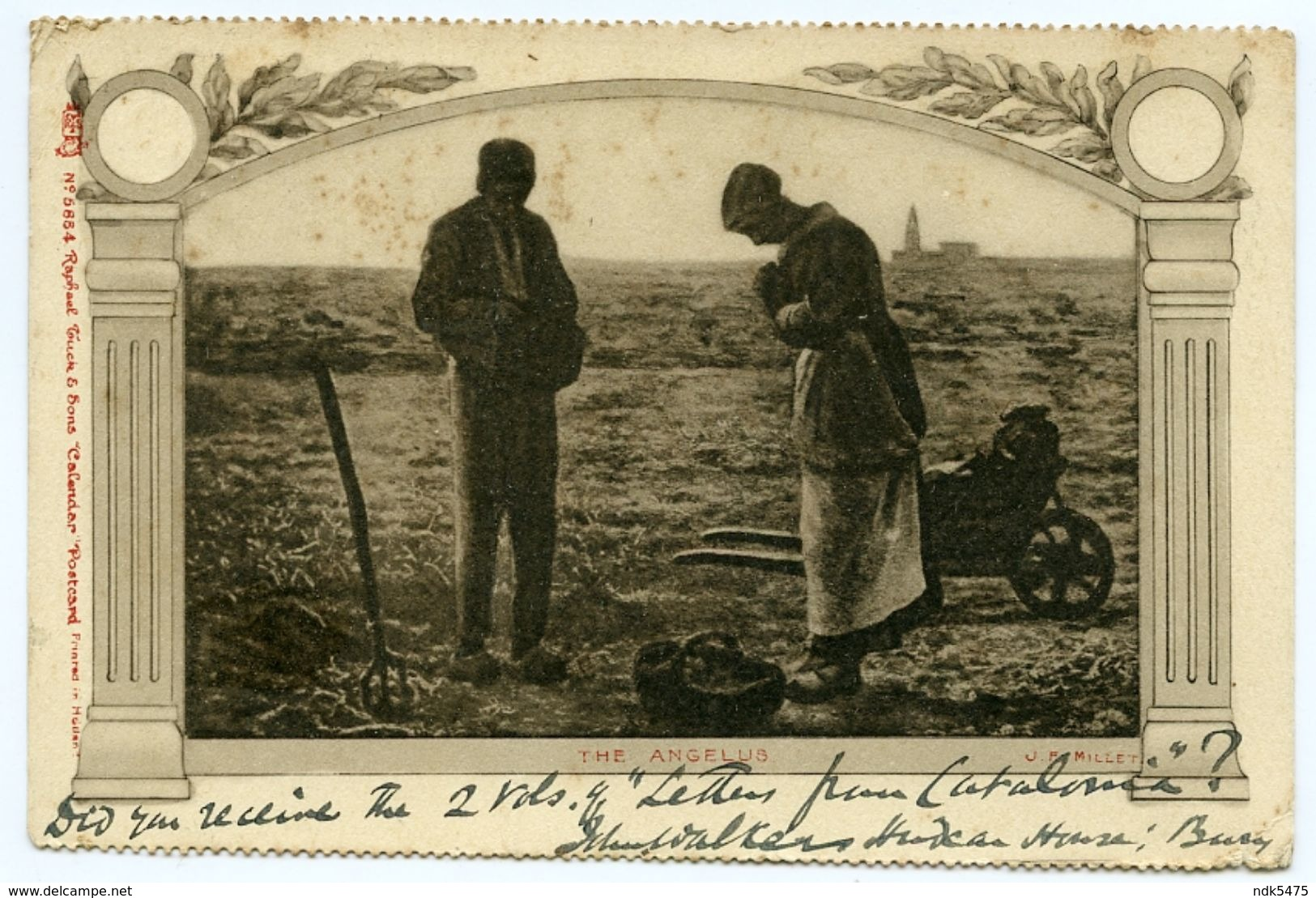 J.F. MILLET : THE ANGELUS / ADDRESSEE - SEYMOUR LUCAS, R.A., WEST HAMPSTEAD / POSTMARK - BURY, LANCS. - 1900-1949