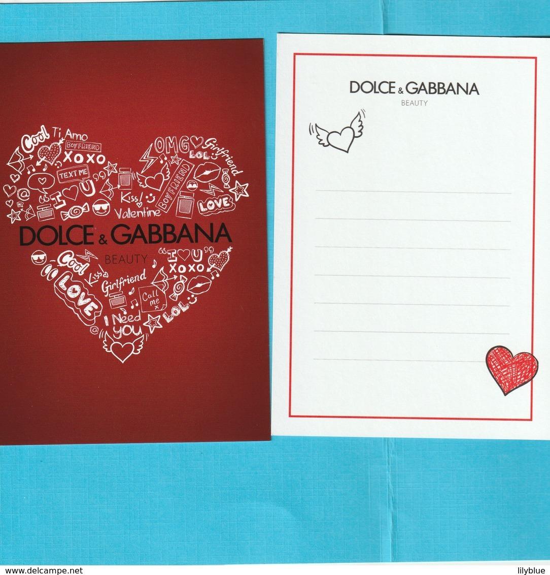 Dolce & Gabbana  Carte De St Valentin R/V - Cartes Parfumées