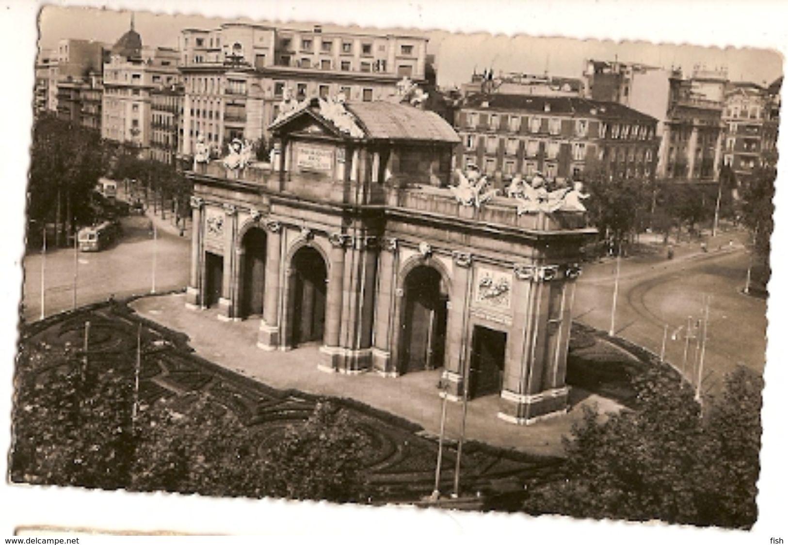 Spain & Circulated,  Puerta De Alcalá, Madrid, Lisboa 1951 (7) - Monuments
