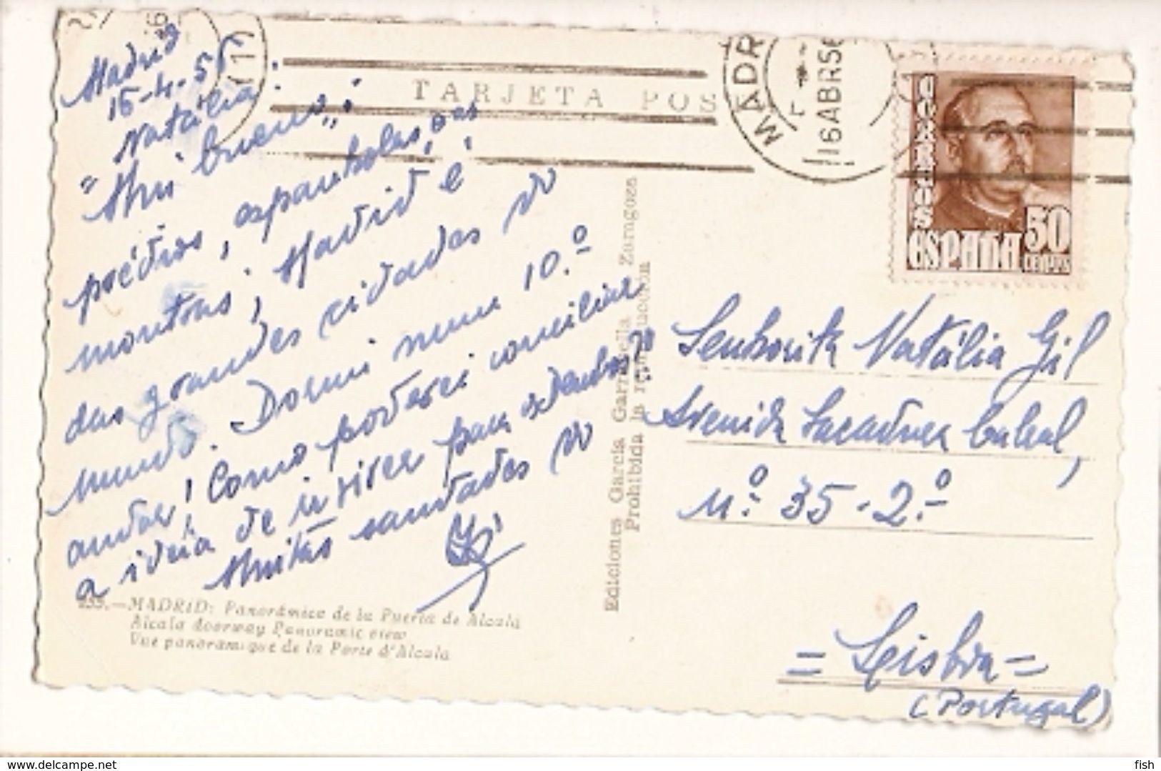 Spain & Circulated, Puerta De Alcalá, Madrid, Lisboa 1956 (255) - Monuments