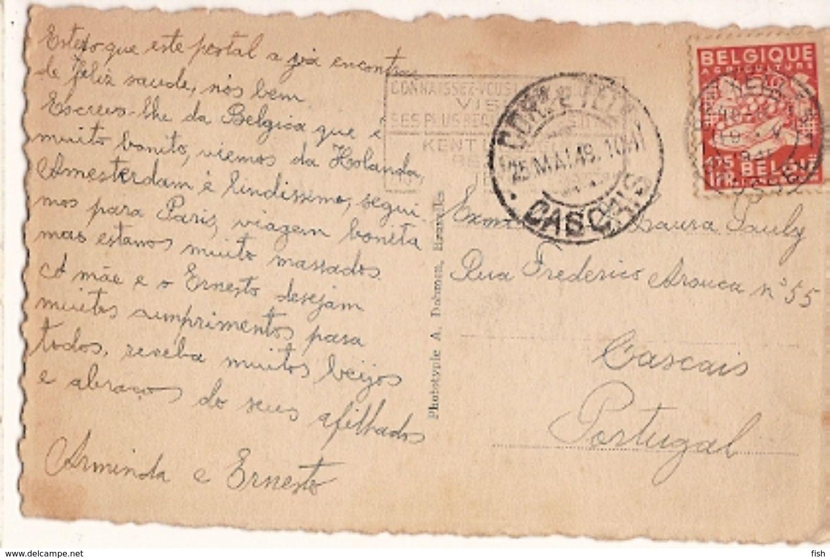Belgium & Circulated,  Palais De Justice, Brussels, Cascais Portugal 1948 (32) - Monuments