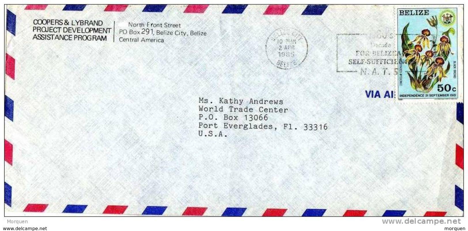 27546. Carta Aerea BELIZE City (Belize) 1985 To USA. Slogan N.A.T.S. - Belice (1973-...)
