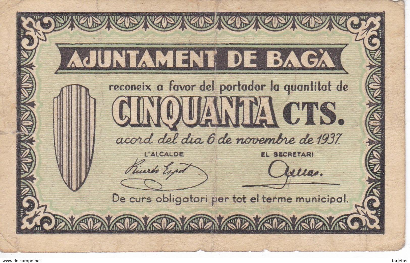 BILLETE DE 50 CENTIMOS DEL AJUNTAMENT DE BAGA DEL AÑO 1937   (BANKNOTE) - Sin Clasificación