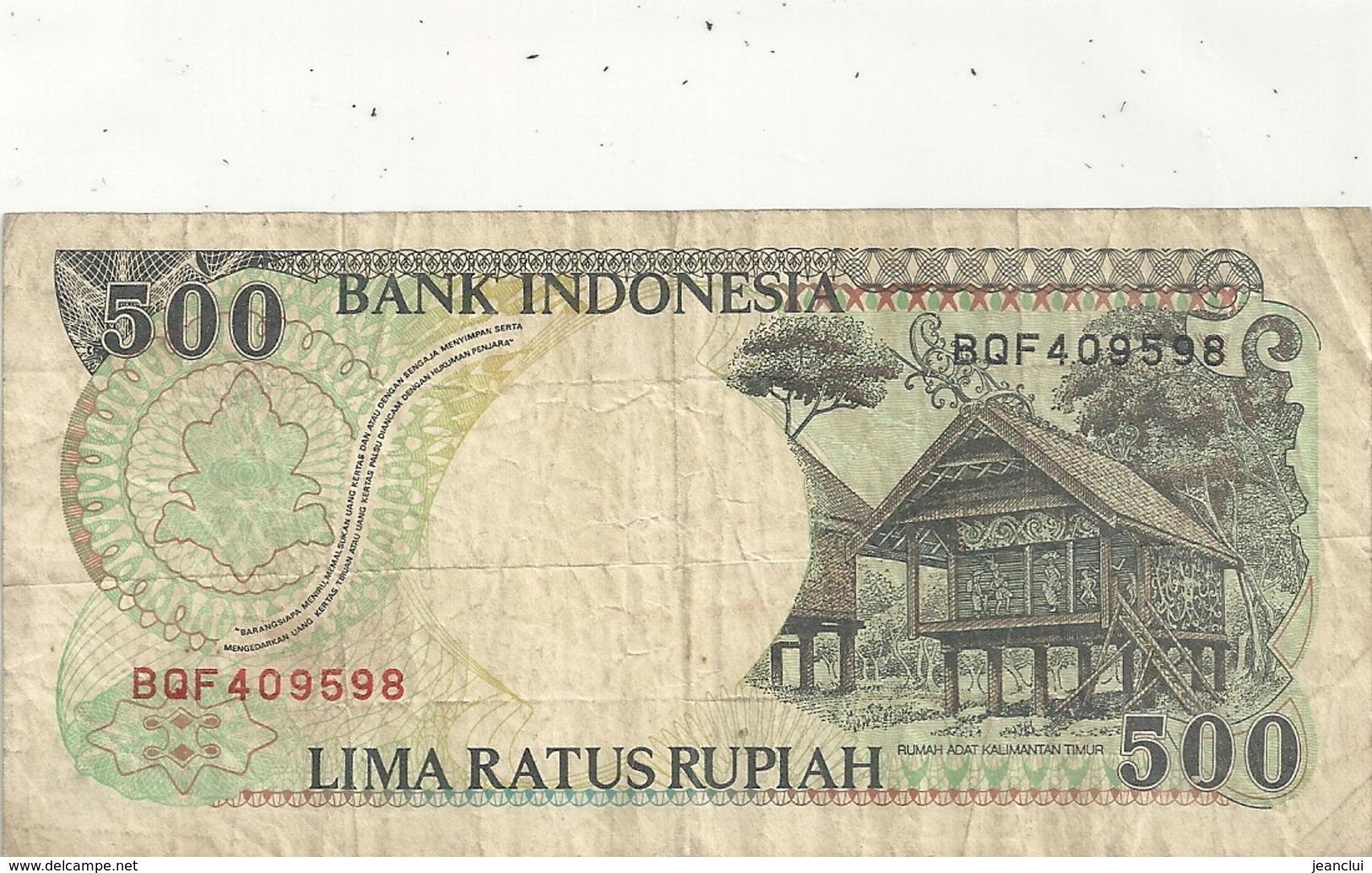 BANK INDONESIA - 500 RUPIAH . 1992 -  N° BQF 409598  . 2 SCANES - Indonésie