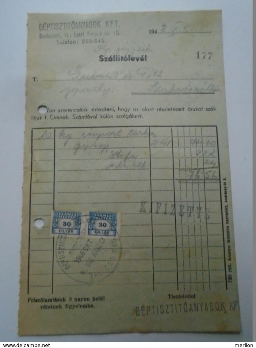OK47.23   Hungary Géptisztító Anyagok  Budapest 1948 - Gubacsi Szabadszállás  Tax Stamps - Rechnungen