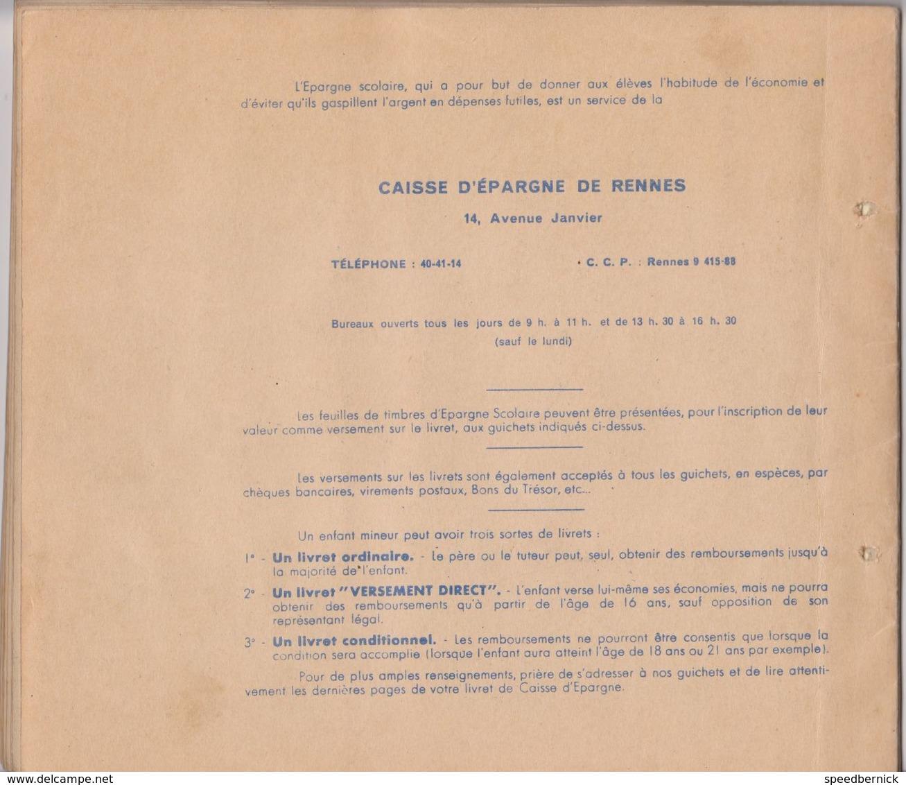 Caisse Epargne RENNES FRANCE 35 -EPARGNE Scolaire -collection Timbres Epargne - Chromos Images -Quinquis - Non Classés