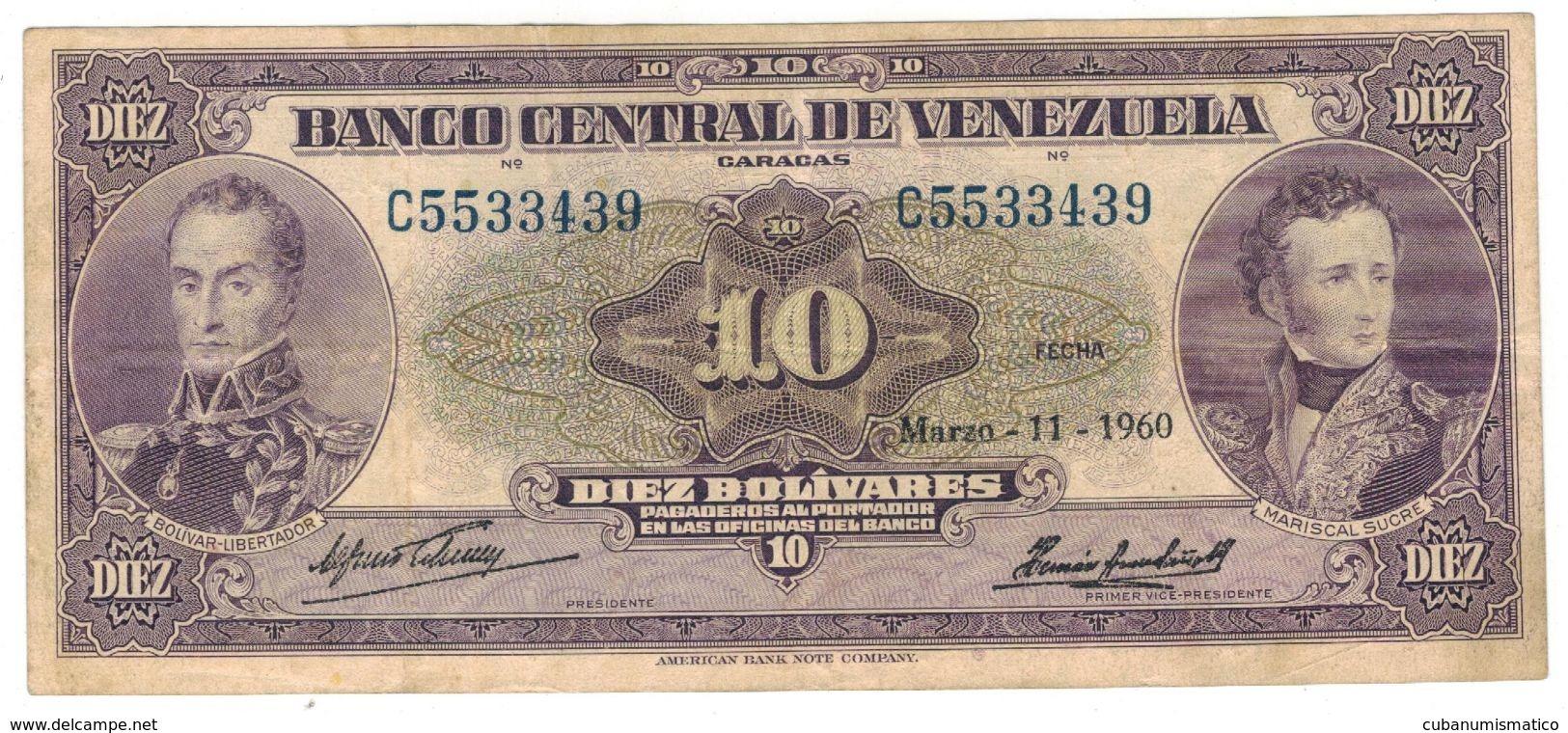 Venezuela 10 Bolivares, 1960, Great VF. Rare. - Venezuela