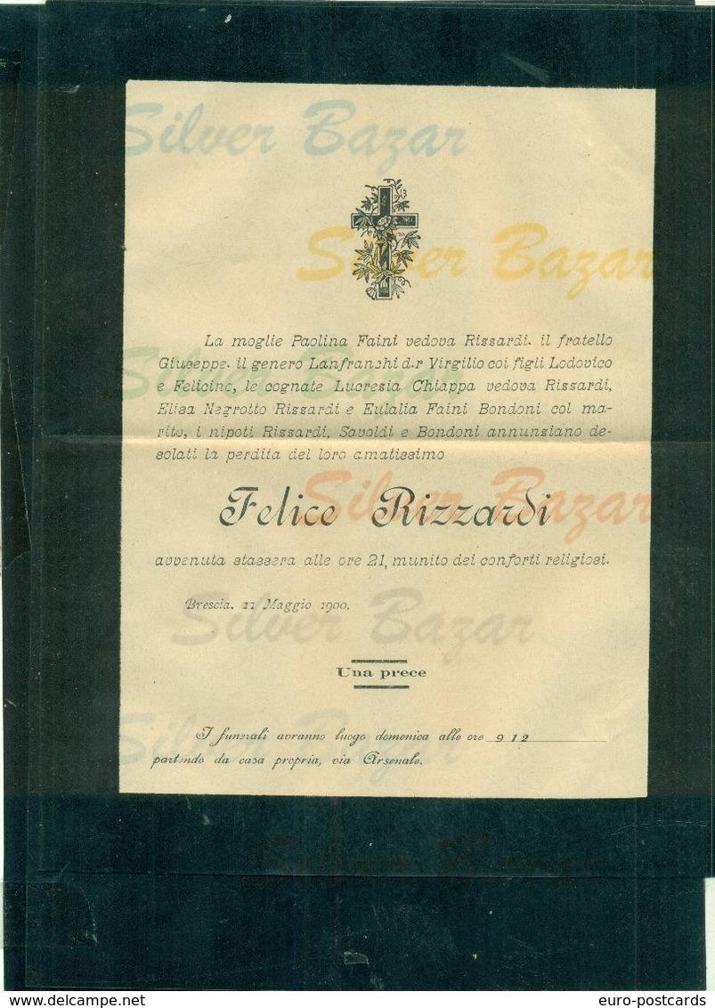 BRESCIA-FELICE RIZZARDI- 1900 -AFFRANCATA COL 2 CENT. - Avvisi Di Necrologio