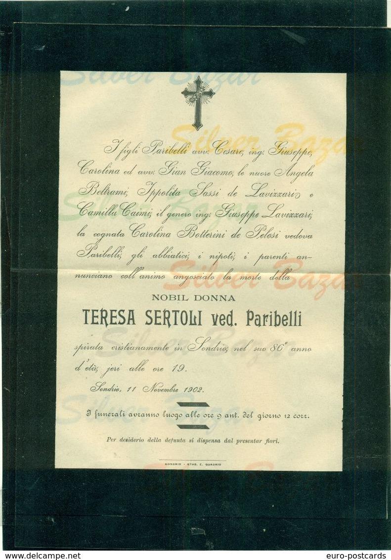 SONDRIO-NOBIL DONNA TERESA SERTOLI VEDOVA PARIBELLI - 1902--AFFRANCATA COL 2 CENT. - Avvisi Di Necrologio