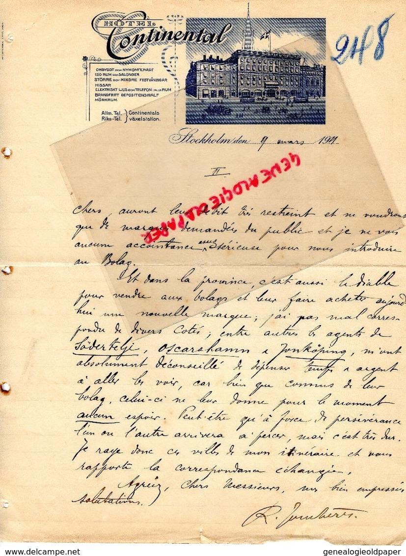 SUEDE-SWEDEN- STOCKHOLM- RARE LETTRE MANUSCRITE HOTEL CONTINENTAL- 1911 - Factures & Documents Commerciaux