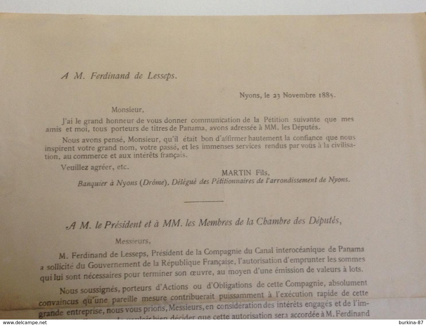 Canal De Panama, 1885, Extraits De Lettres D'actionnaires De, Nyons, à, Mr Ferdinand De Lesseps, Et Retour - Documents Historiques