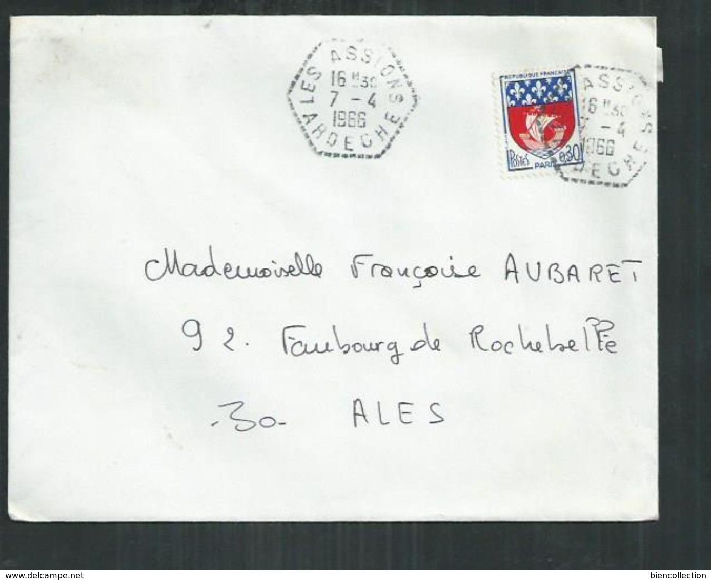 """Ardèche. Enveloppe Postée De """"Les Assions"""" Cachet Hexagonal Pointillé Pour Alès ( Gard) - Marcofilia (sobres)"""