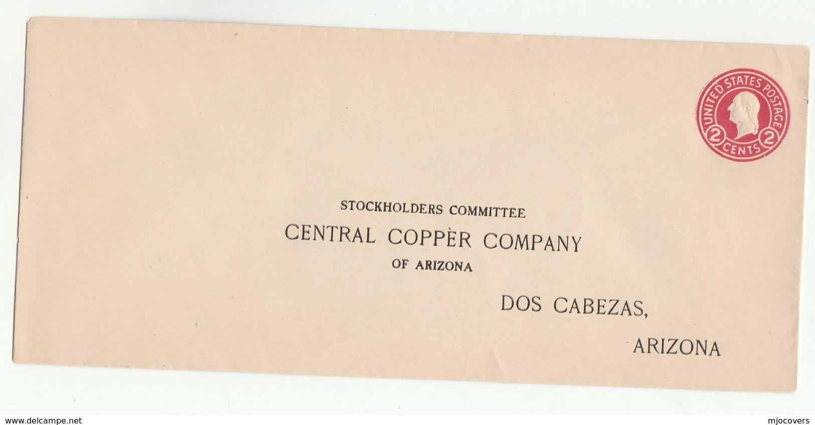 Old CENTRAL COPPER COMPANY Of ARIZONA Doz Cabezas USA Postal STATIONERY COVER Minerals Stamps - Minerals
