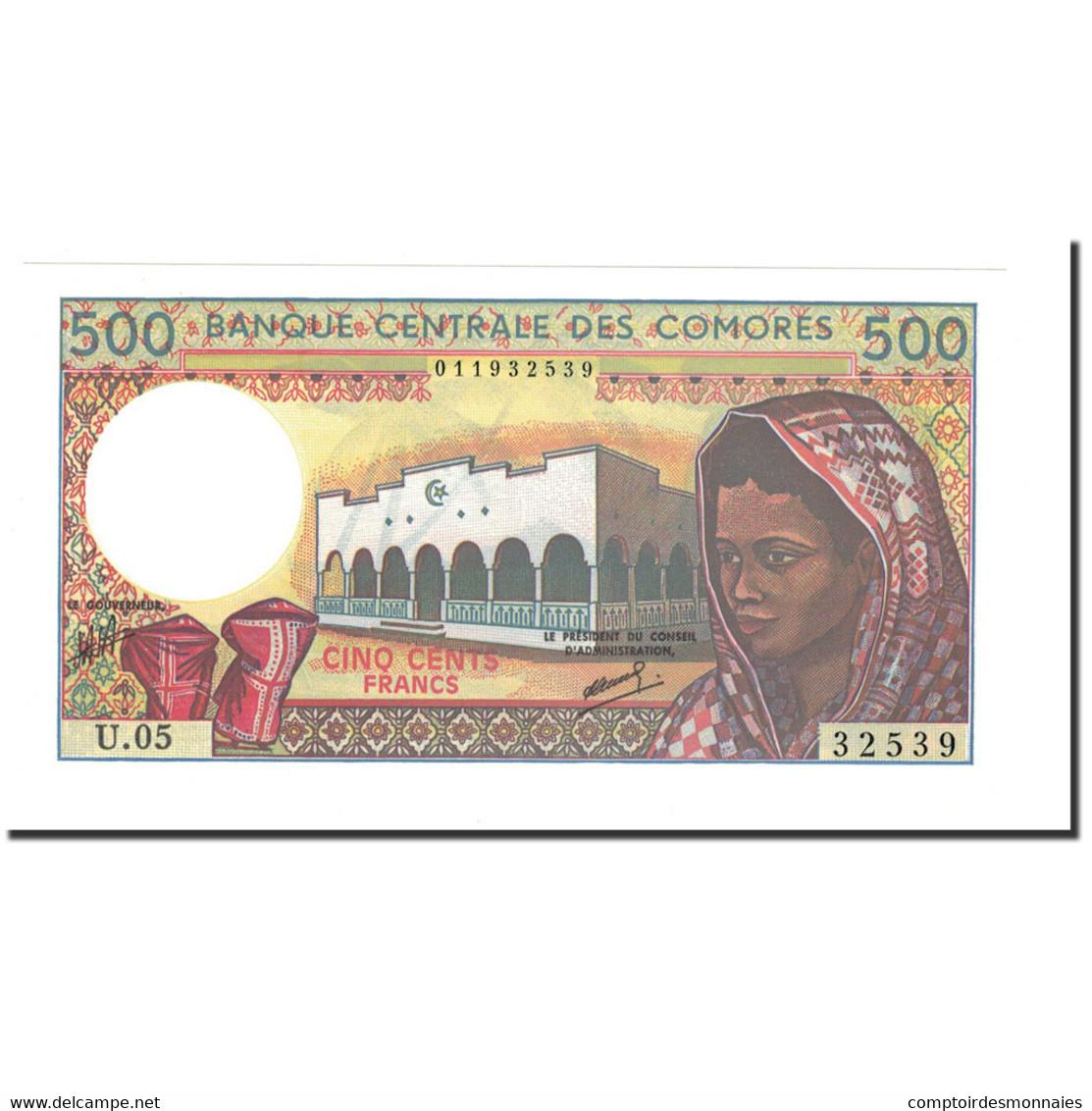 Billet, Comoros, 500 Francs, 1994, KM:10b, NEUF - Comoros