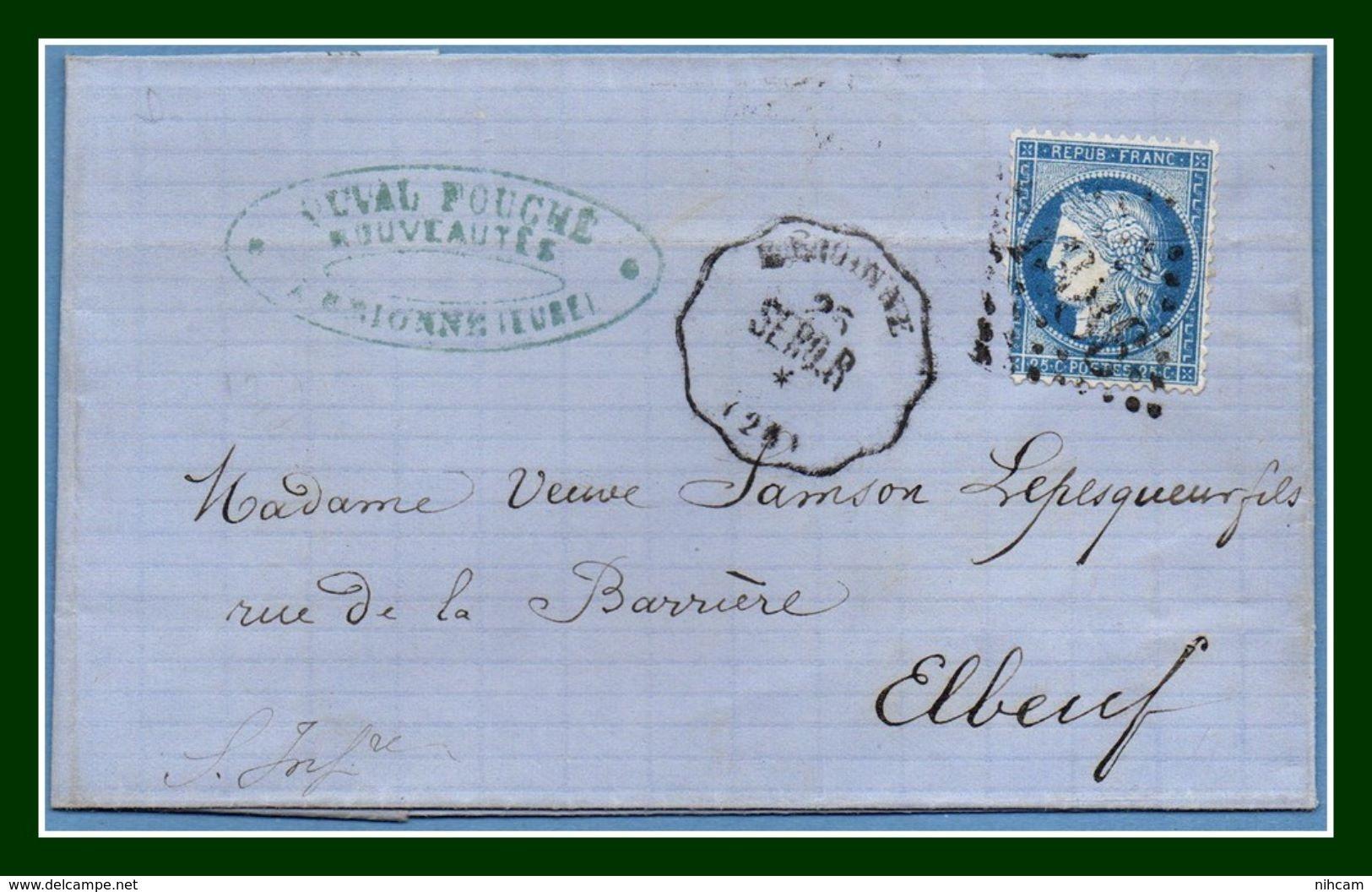 BRIONNE Convoyeur Station SERQ-R (ligne 331) De 1874 GC 1386 Elbeuf / N° 60 > Elbeuf T15 Au Verso (ind 13) TB (pas Com.) - Postmark Collection (Covers)