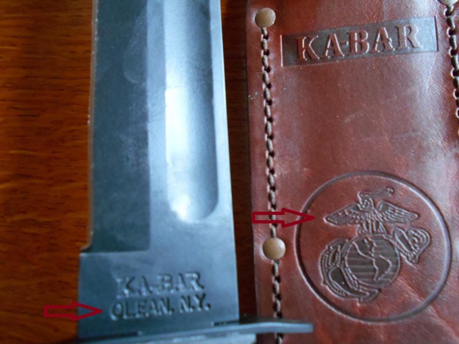 "Poignard US  KA-BAR ""OLEAN- N.Y.   USMC  (Modèle Vietnam) - Armes Blanches"
