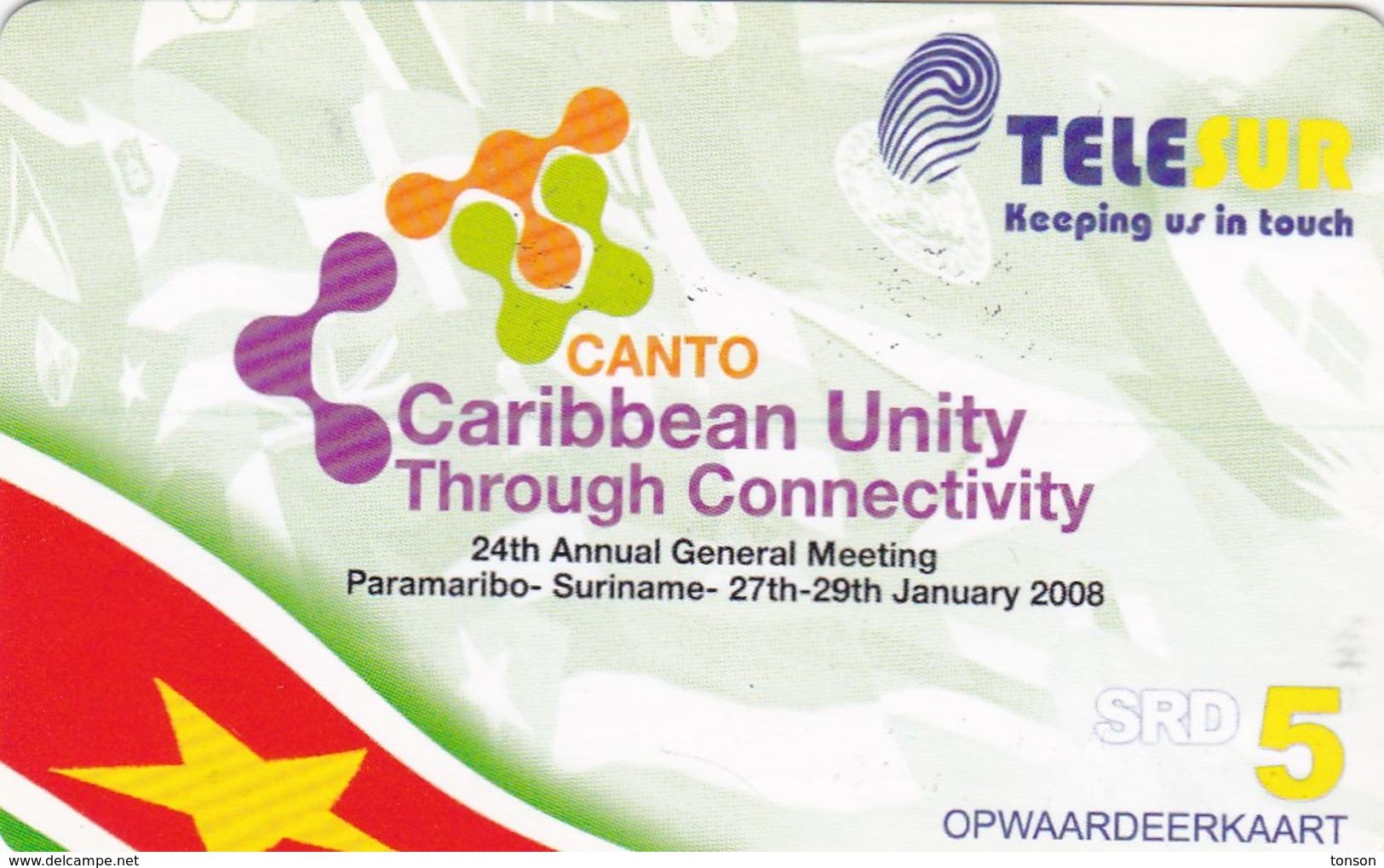 Surinam, $5, Telesur,Caribbean Unity, 2 Scans. - Suriname
