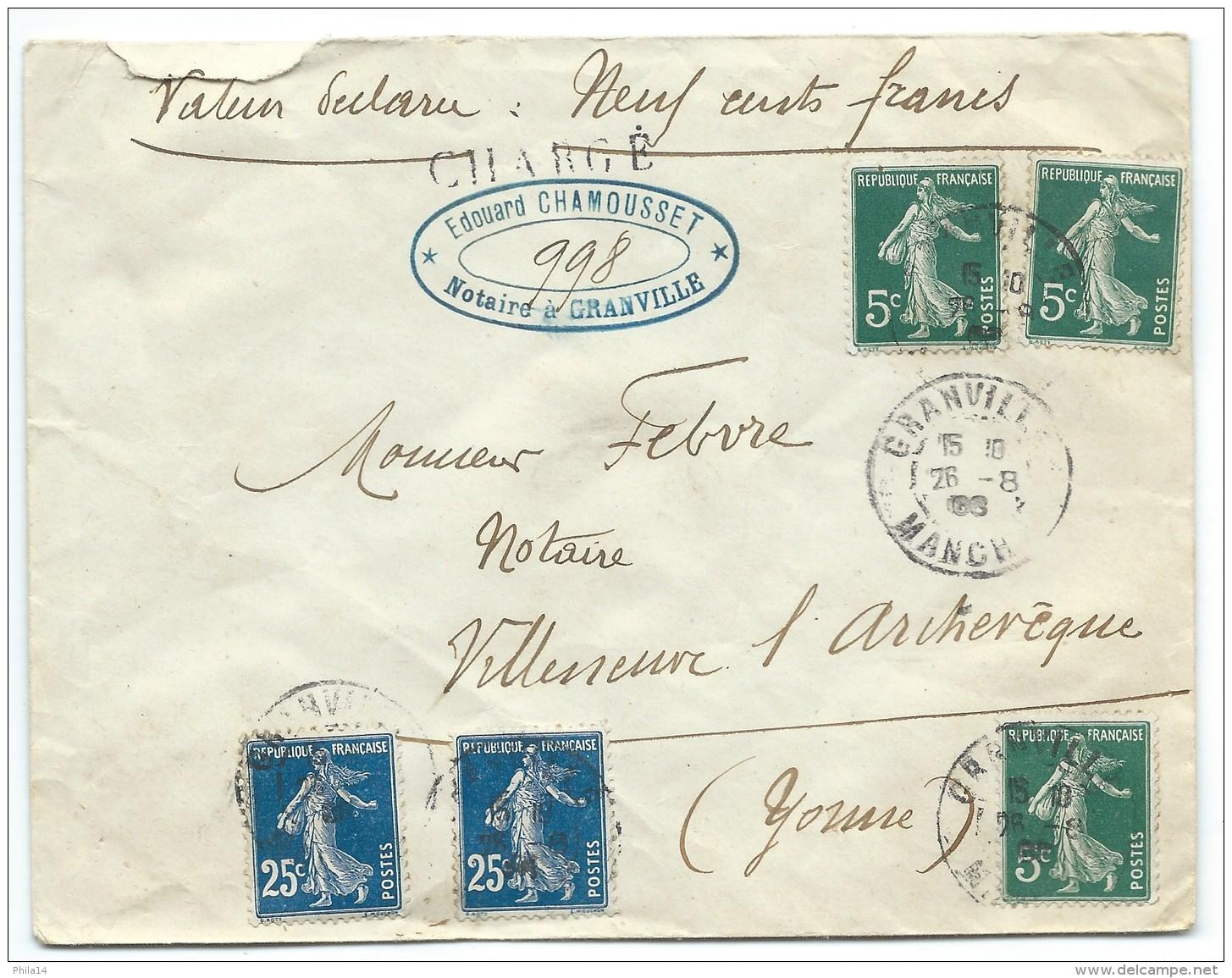 ENVELOPPE SEMEUSE  N° 140 & N°137 / GRANVILLE MANCHE POUR VILLENEUVE L'ARCHEVEQUE  / 1908 CHARGE - 1877-1920: Période Semi Moderne
