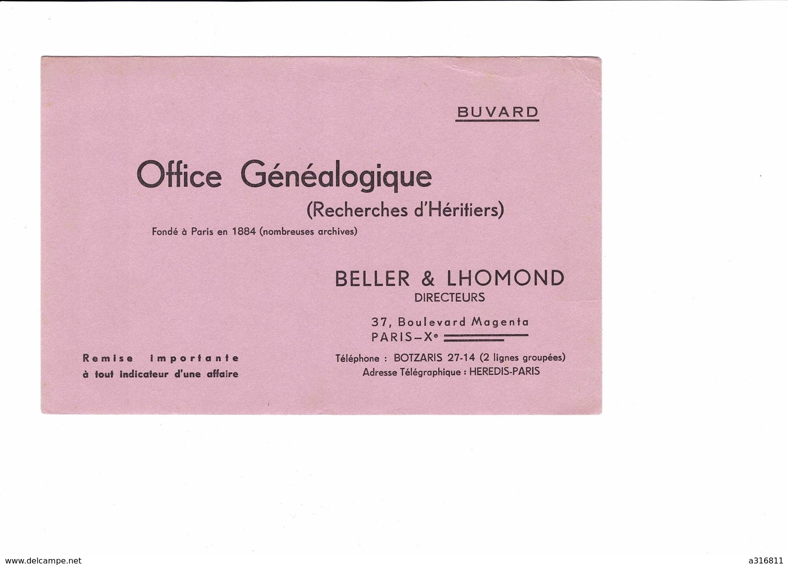 BUVARD   OFFICE GENEALOGIQUE  BELLER ET LHOMOND  RECHERCHES  D HERITIERS - Buvards, Protège-cahiers Illustrés