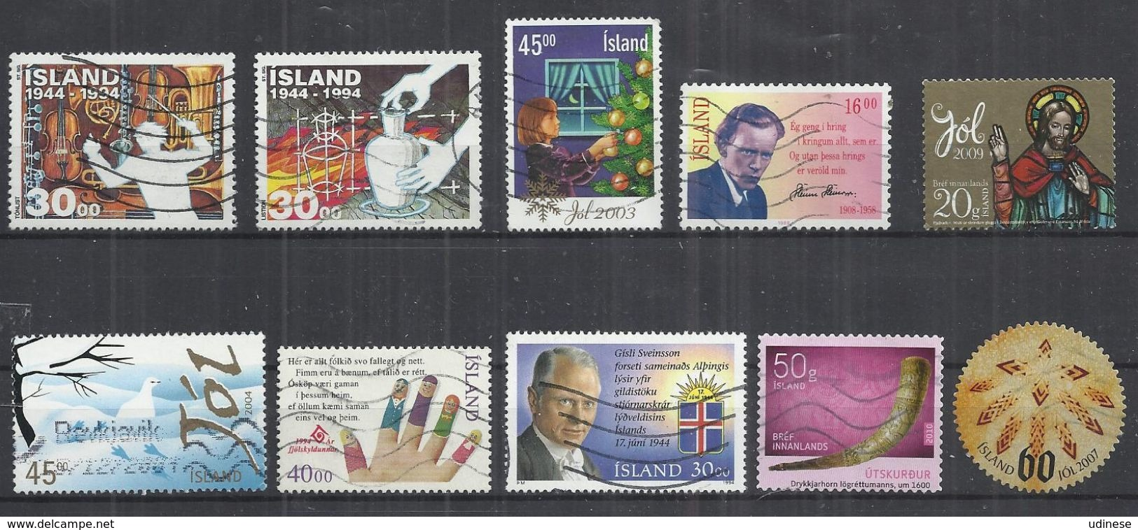 TEN AT A TIME - ICELAND - LOT OF 10 DIFFERENT COMMEMORATIVE  10 - USED OBLITERE GESTEMPELT USADO - Collections, Lots & Séries