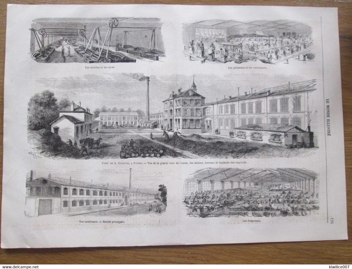 Gravure 1867 USINE DE MR COURTOIS A PANTIN PRES DE PARIS       Moulins Polisseur Vernisseur  Dragueur - Vieux Papiers