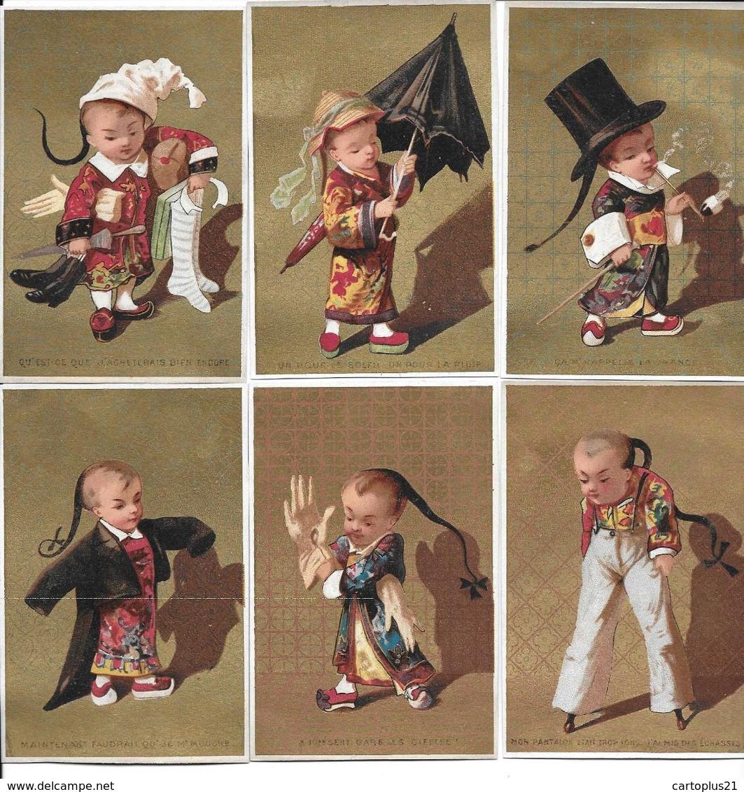 6 CHROMOS FOND OR 11X 7.2 CMS   RAPELLE LA FRANCE.GARE LES GIFFLES . PANTALON   ENFANTS     PARAPLUIE . ACHETEUR. N 75 - Trade Cards