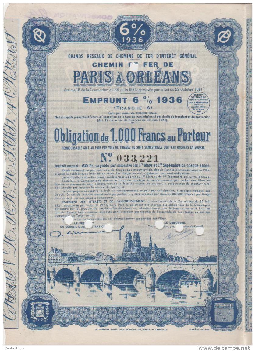 45-CHEMIN DE FER DE PARIS A ORLEANS. 1936. Obligation 1000 F. DECO. - Shareholdings