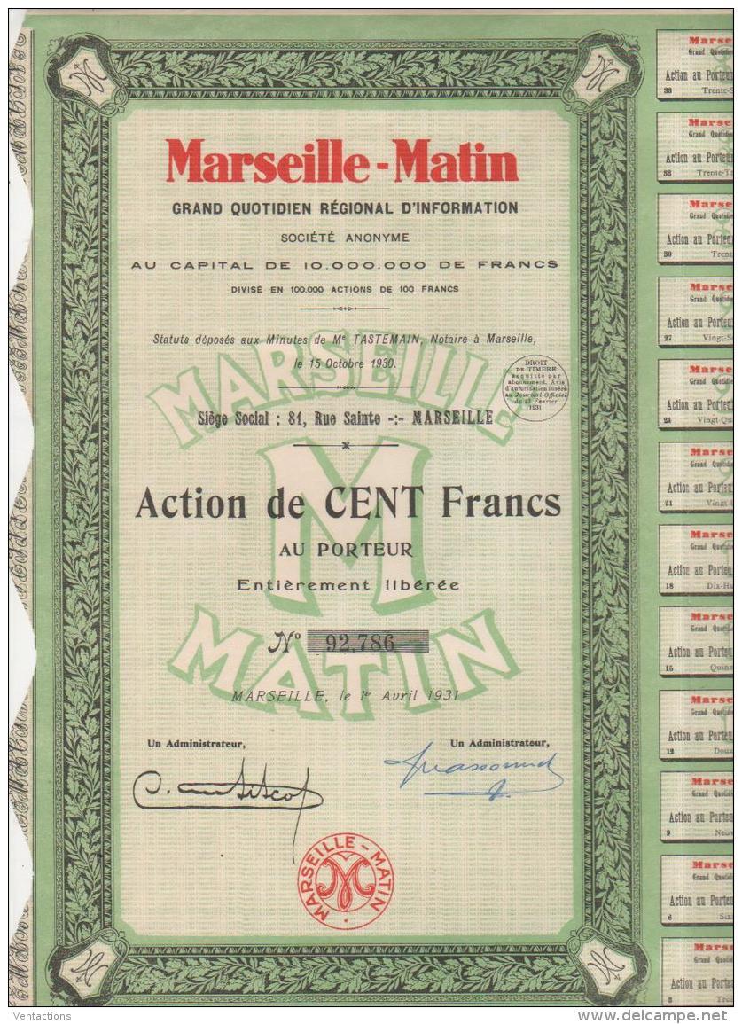 13-MARSEILLE-MATIN. Grand Quotidien Régional D'Information. MARSEILLE - Shareholdings