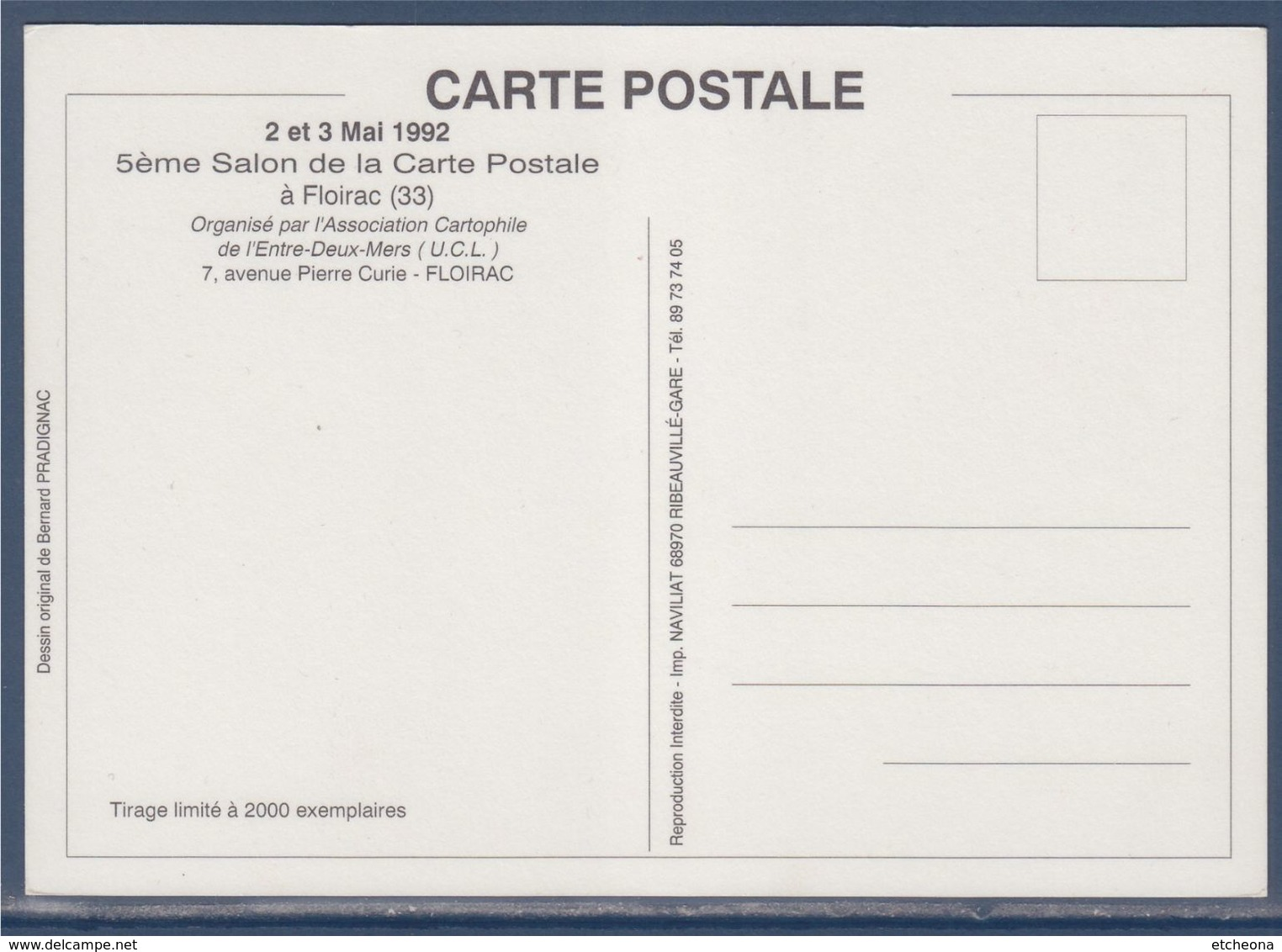 = 57ème Salon De La Carte Postale, Floirac, 2-3 Mai 1992, Association Cartophile De L'Entre Deux Mers, - Sammlerbörsen & Sammlerausstellungen