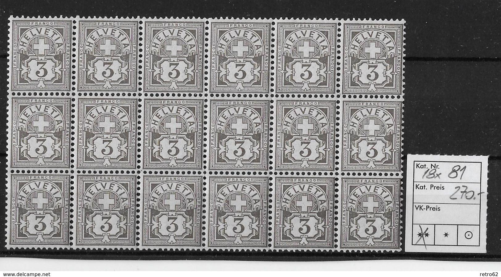 1906 ZIFFERMUSTER Faserpapier Mit Wasserzeichen → Kleinbogen Mit 18 Briefmarken  ►SBK-81 **◄ - Neufs