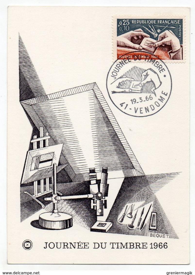 France CM Carte Maximum Mars 1966 41 Vendome - YT 1477 Journée Du Timbre - Cartoline Maximum
