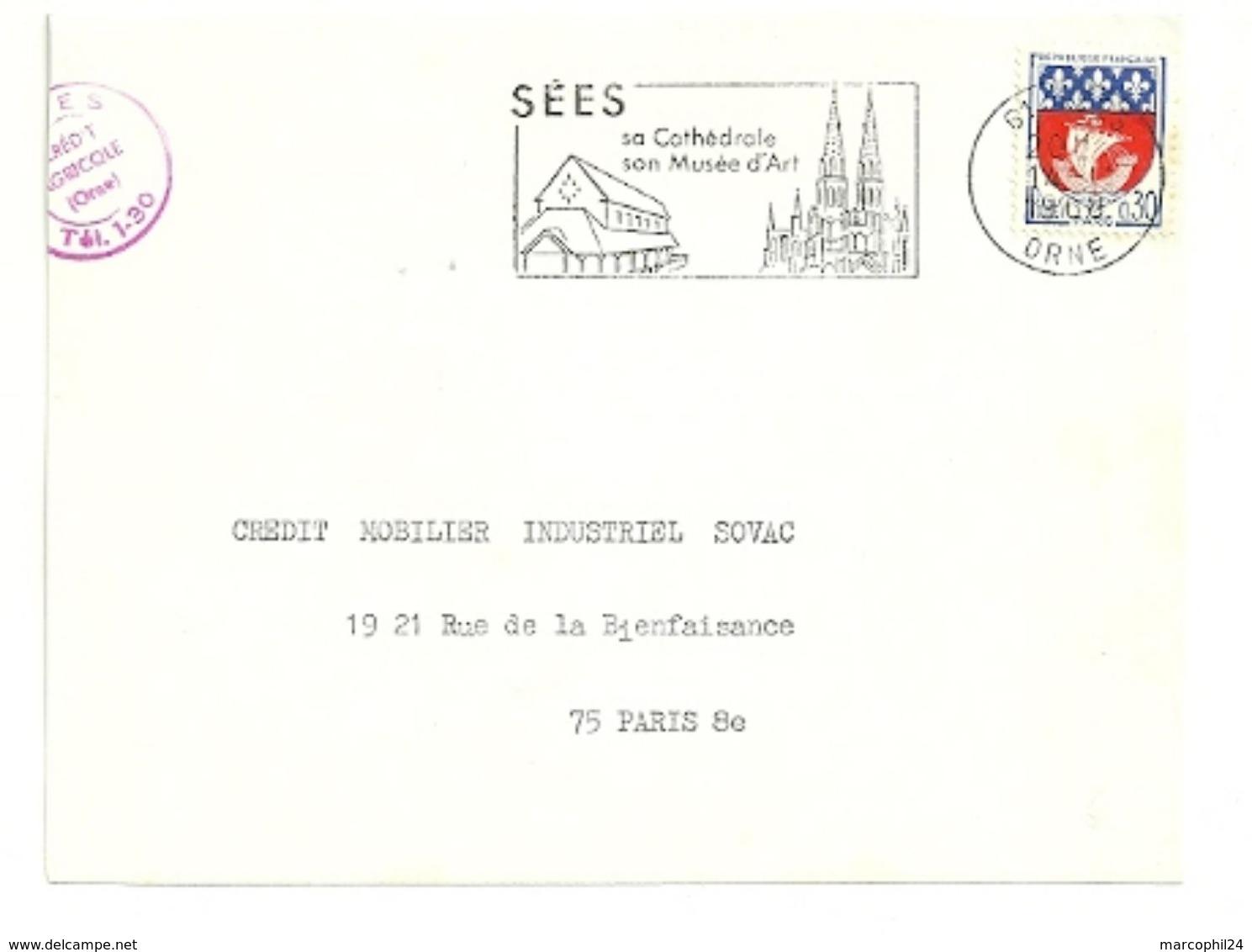 ORNE - Dépt N° 61 = SEES 1968 =  FLAMME Codée =  SECAP Illustrée  ' Cathédrale,musée D'Art' - Postmark Collection (Covers)
