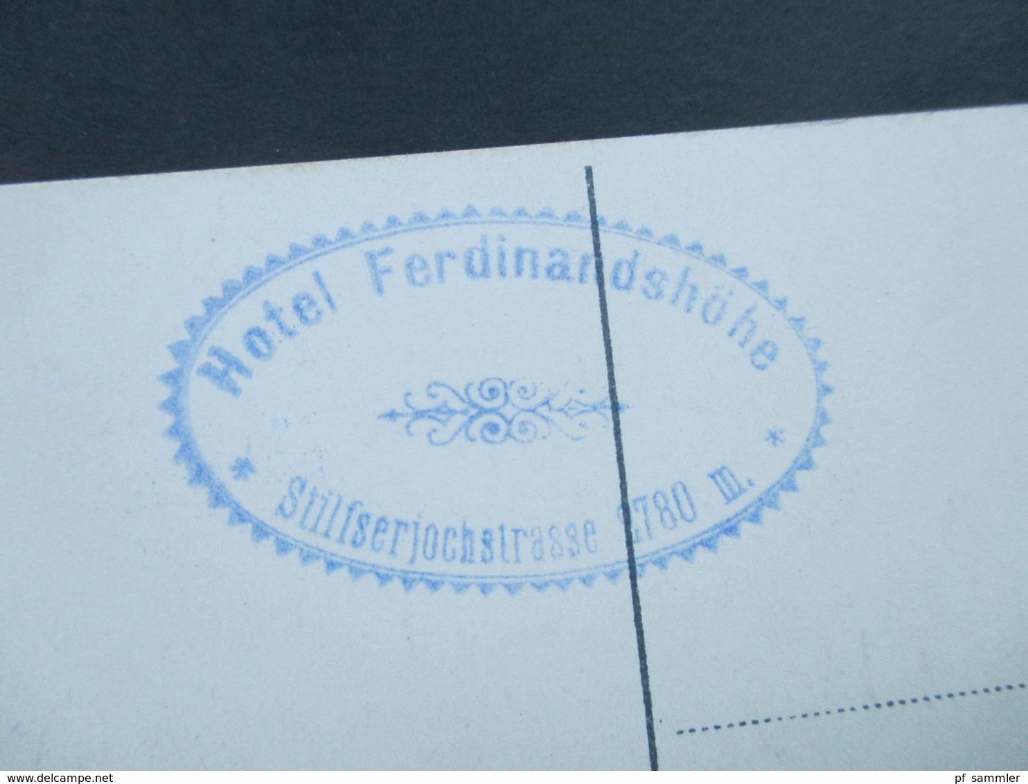 Österreich Um 1910 Hotel Ferdinandshöhe (2760m) An Der Stifserjochstrasse. Tirol. Altes Auto! Joh. F. Amonn - Hotels & Gaststätten