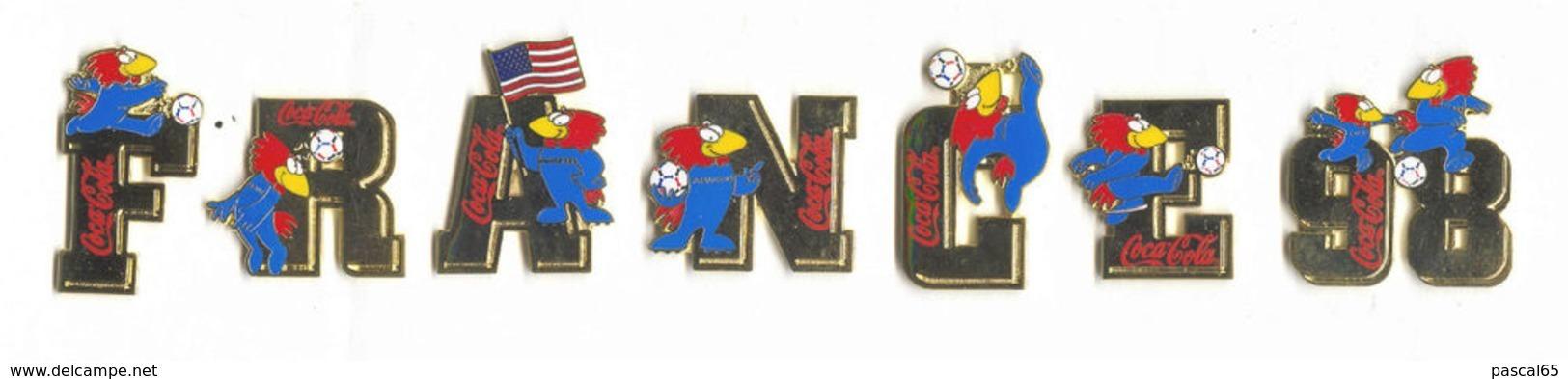 7 Original 1998 FIFA Soccer/Football WORLD CUP COCA-COLA FRANCE 98 PIN SET FOOTIX MASCOT - Fussball