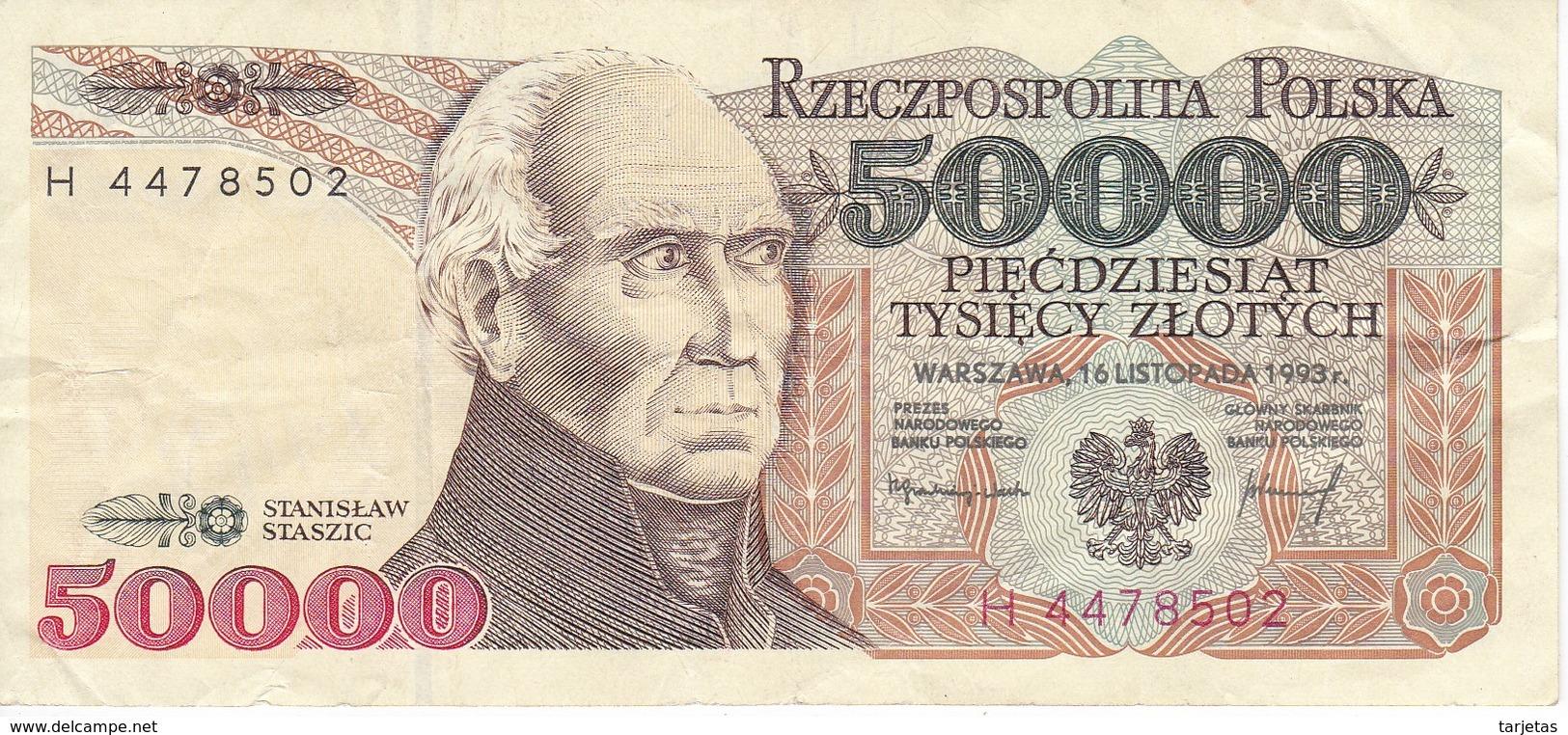 BILLETE DE POLONIA DE 50000 ZLOTYCH DEL AÑO 1993 (BANKNOTE) - Polonia