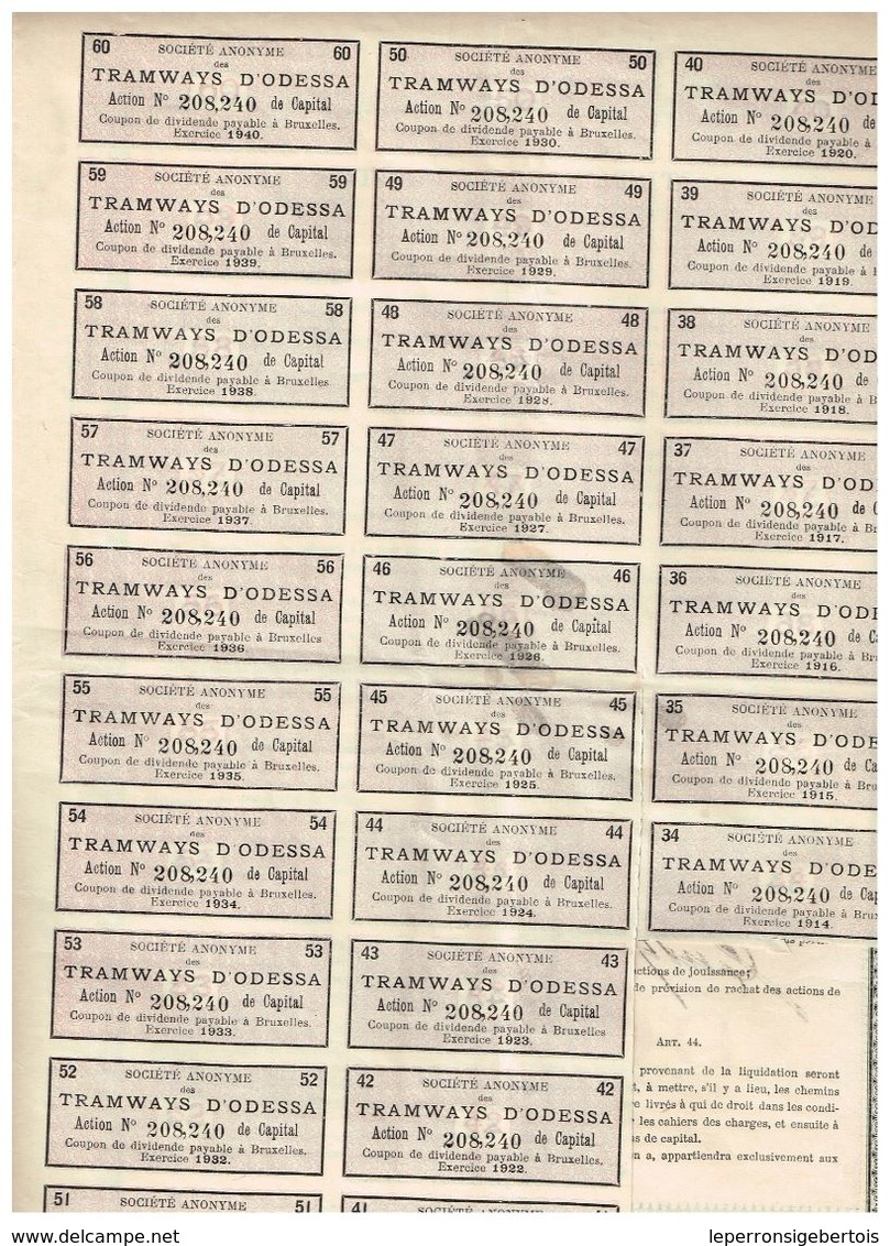 Action Ancienne - Société Anonyme Des Tramways D' Odessa - Titre De 1912 - - Chemin De Fer & Tramway