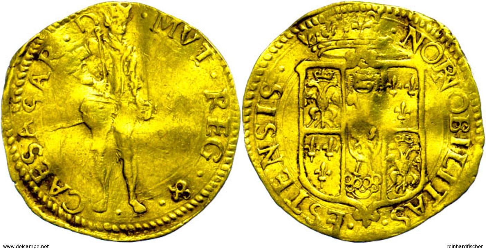 534 Modena, Dukat (3,35g), O.J. (1598-1628), Cesare D'Este, Nach Ungarischem Vorbild, Fb. 763, Wellig, S-ss.  S-ss - Italy