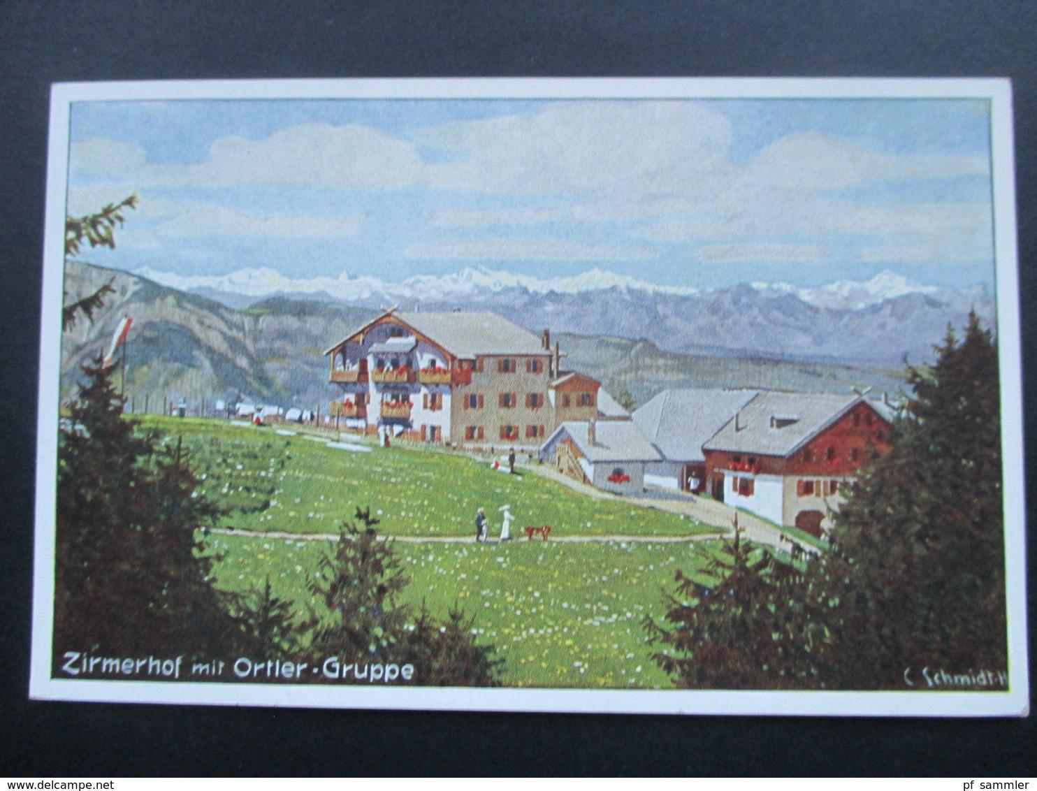 Südtirol Künstlerkarte C. Schmidt-H. Zirmerhof Mit Ortler Gruppe. Pensione Perwanger Zirmer Posta Fontane Fredde. - Hotels & Gaststätten