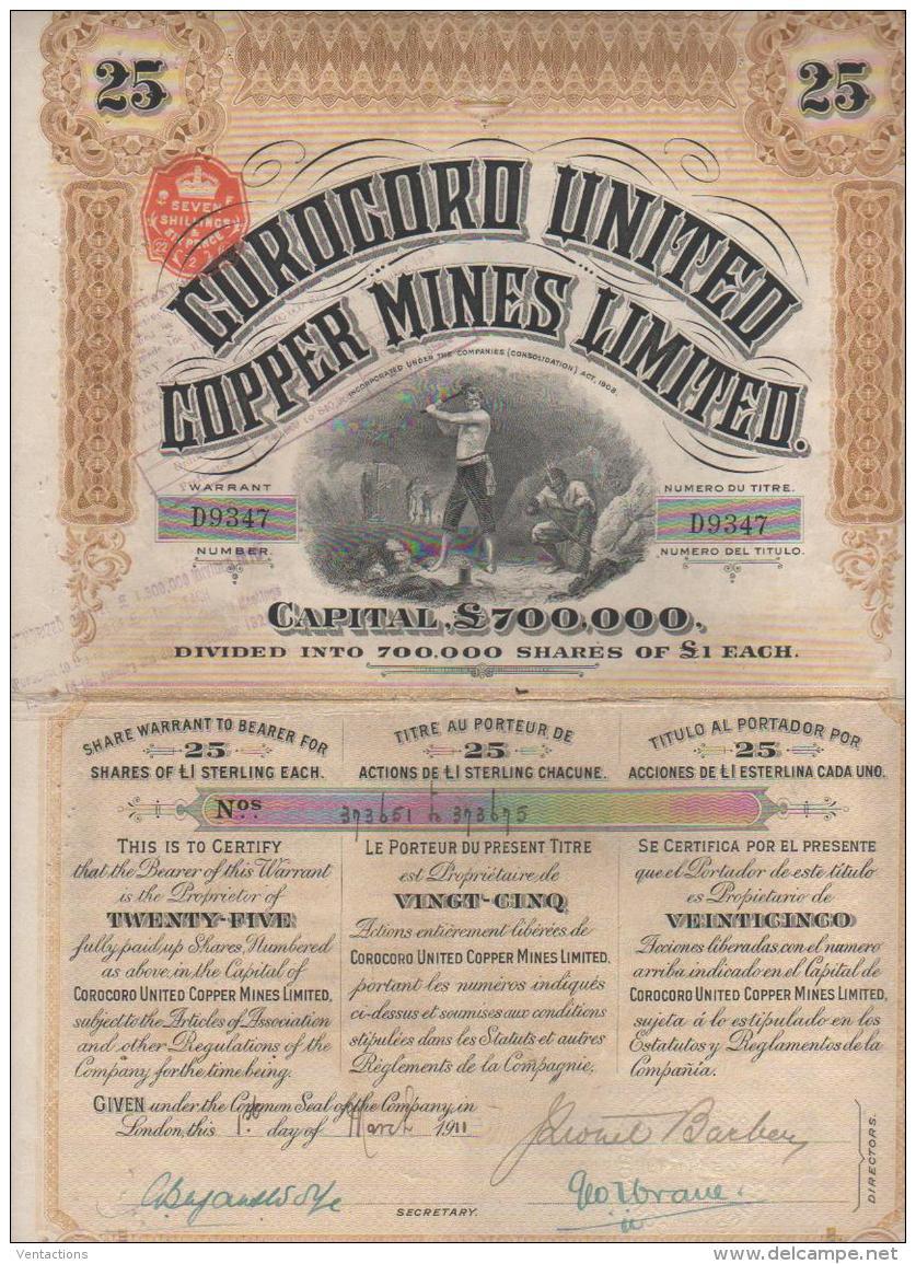 GB-COROCORO UNITED COPPER MINES Ltd. Titre De  25 Actions. DECO.    UK - Shareholdings