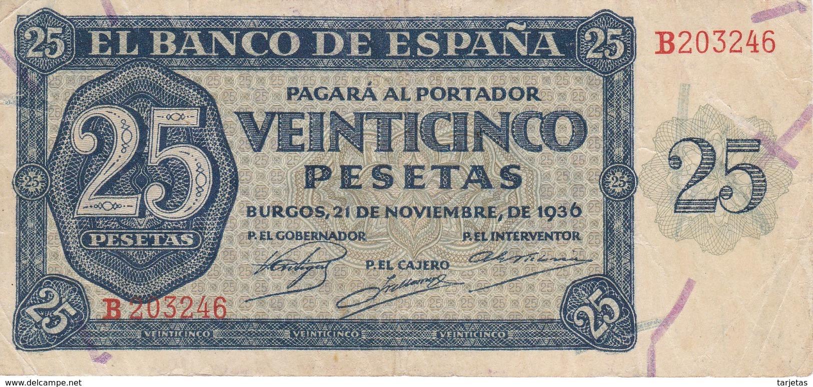 BILLETE DE ESPAÑA DE 25 PTAS DEL 21/11/1936 SERIE B CALIDAD  MBC (VF) (BANKNOTE) - [ 3] 1936-1975: Franco