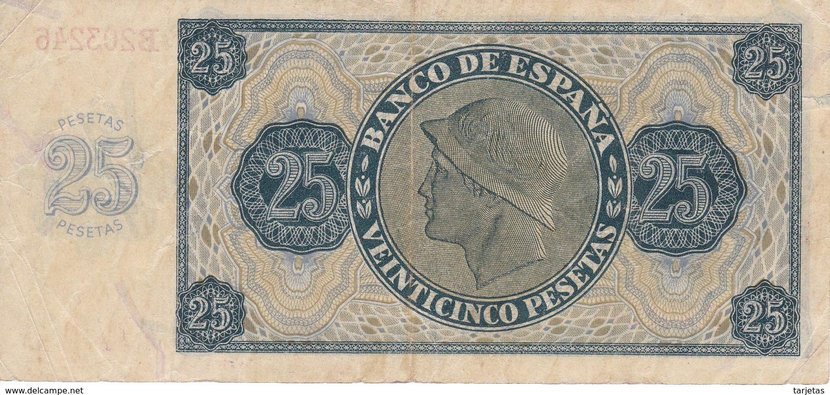 BILLETE DE ESPAÑA DE 25 PTAS DEL 21/11/1936 SERIE B CALIDAD  MBC (VF) (BANKNOTE) - [ 3] 1936-1975 : Régence De Franco