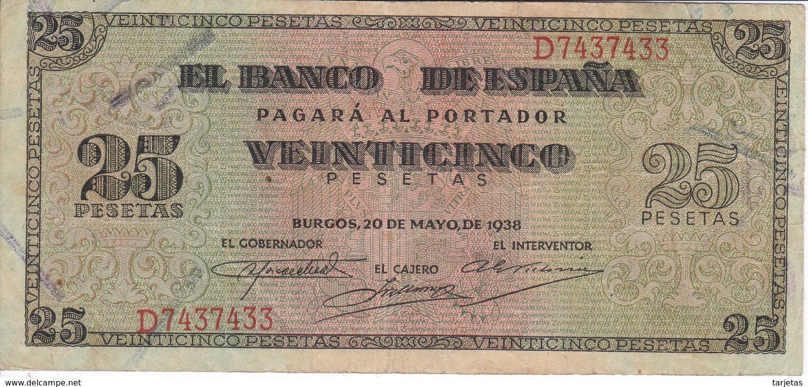 BILLETE DE BURGOS DE 25 PTAS DEL 20/05/1938 SERIE D EN CALIDAD BC (BANKNOTE) - 25 Pesetas