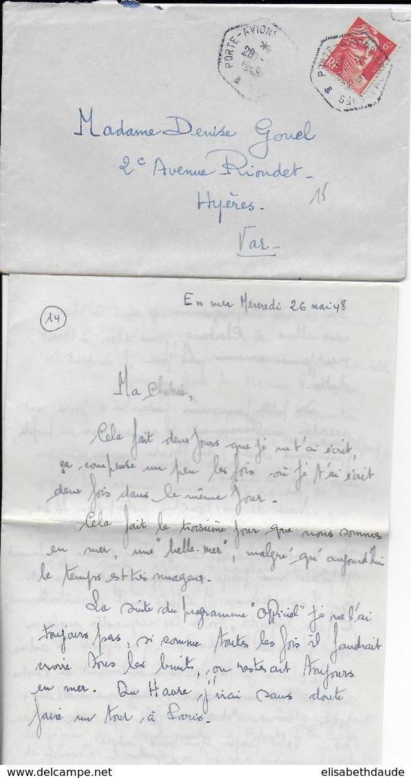 1948 - LETTRE AGENCE POSTALE EMBARQUEE Du PORTE AVIONS ARROMANCHES - CORRESPONDANCE INTERESSANTE - Poste Navale