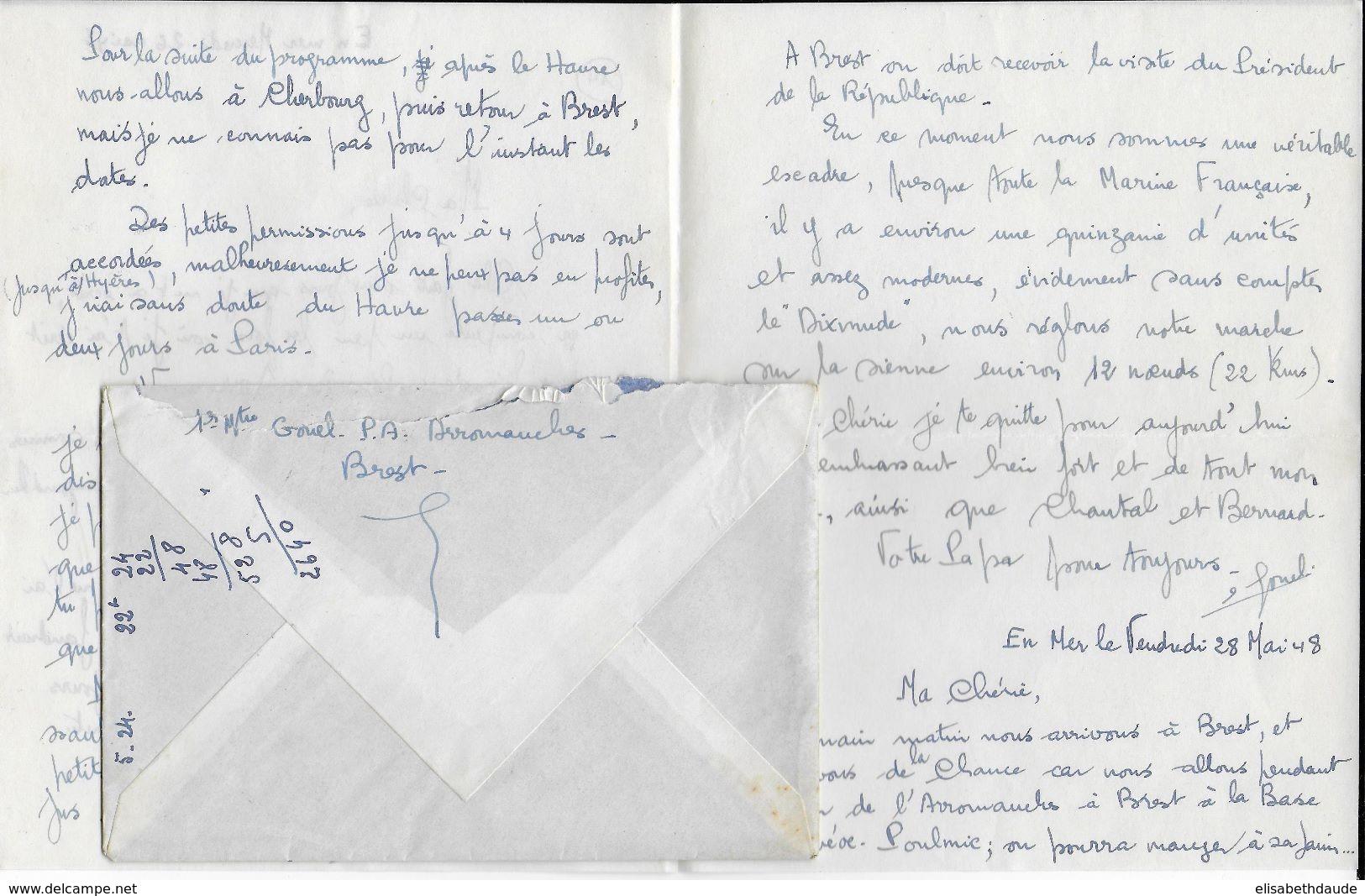 1948 - LETTRE AGENCE POSTALE EMBARQUEE Du PORTE AVIONS ARROMANCHES - CORRESPONDANCE INTERESSANTE - Marcophilie (Lettres)