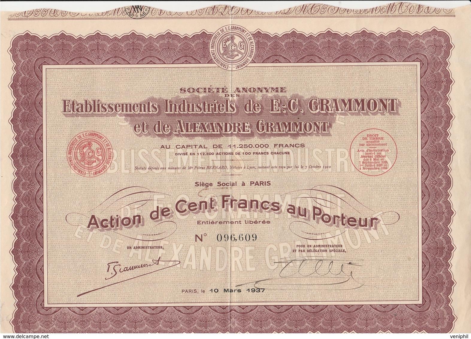 ACTION DE 100 FRANCS - ETABLISSEMENTS INDUSTRIELS DE E.C. GRAMMONT - ANNEE 1937 - Industrie