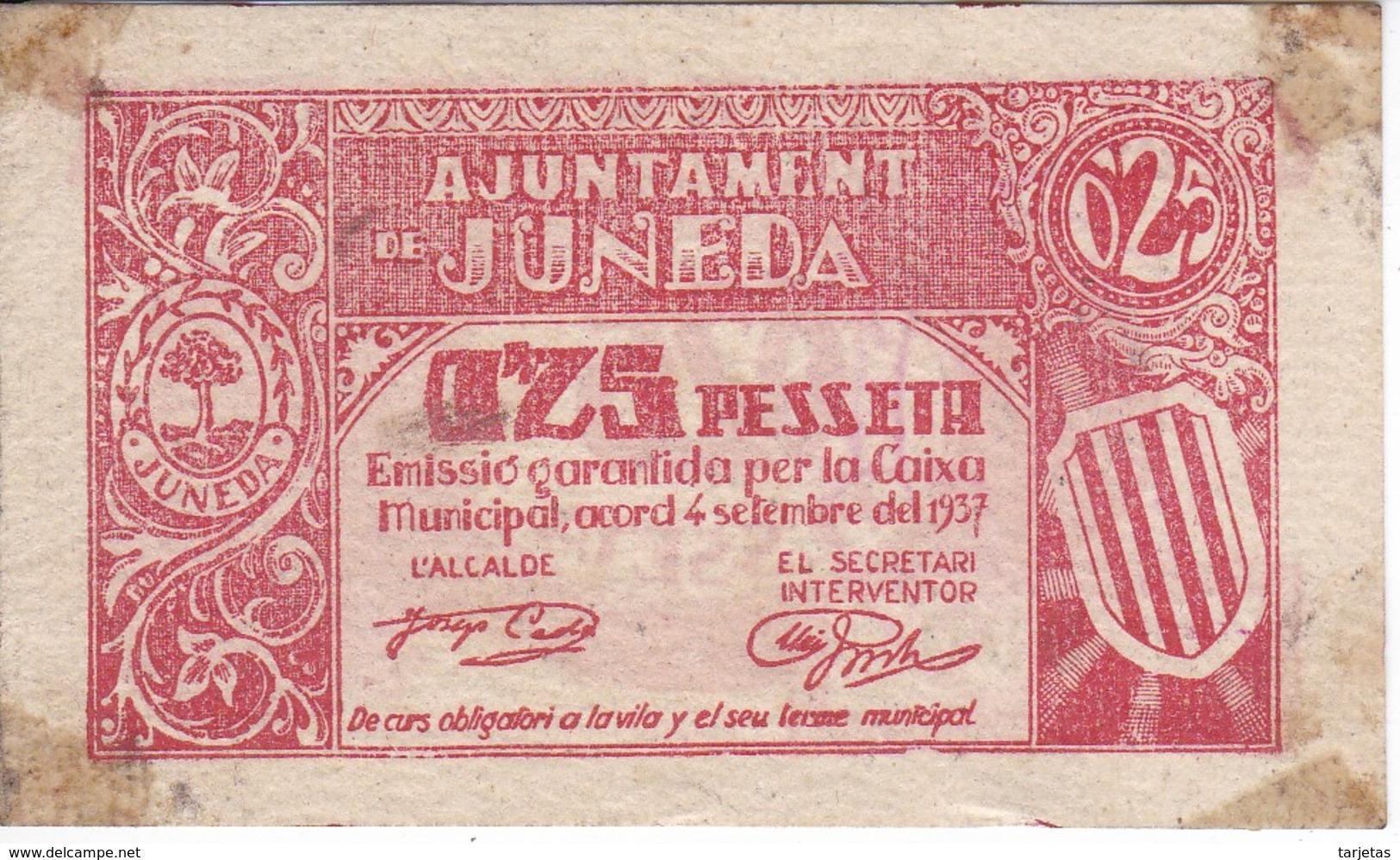BILLETE DE 25 CENTIMOS DEL AJUNTAMENT DE JUNEDA DEL AÑO 1937  (BANKNOTE) - [ 2] 1931-1936 : República