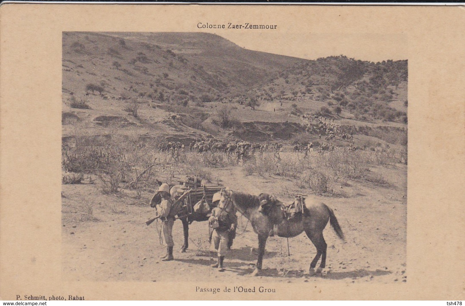 MAROC--Colonne ZAER-ZEMMOUR--passage De L'oued Grou--campagne Du Maroc 1912-13--voir 2 Scans - Autres