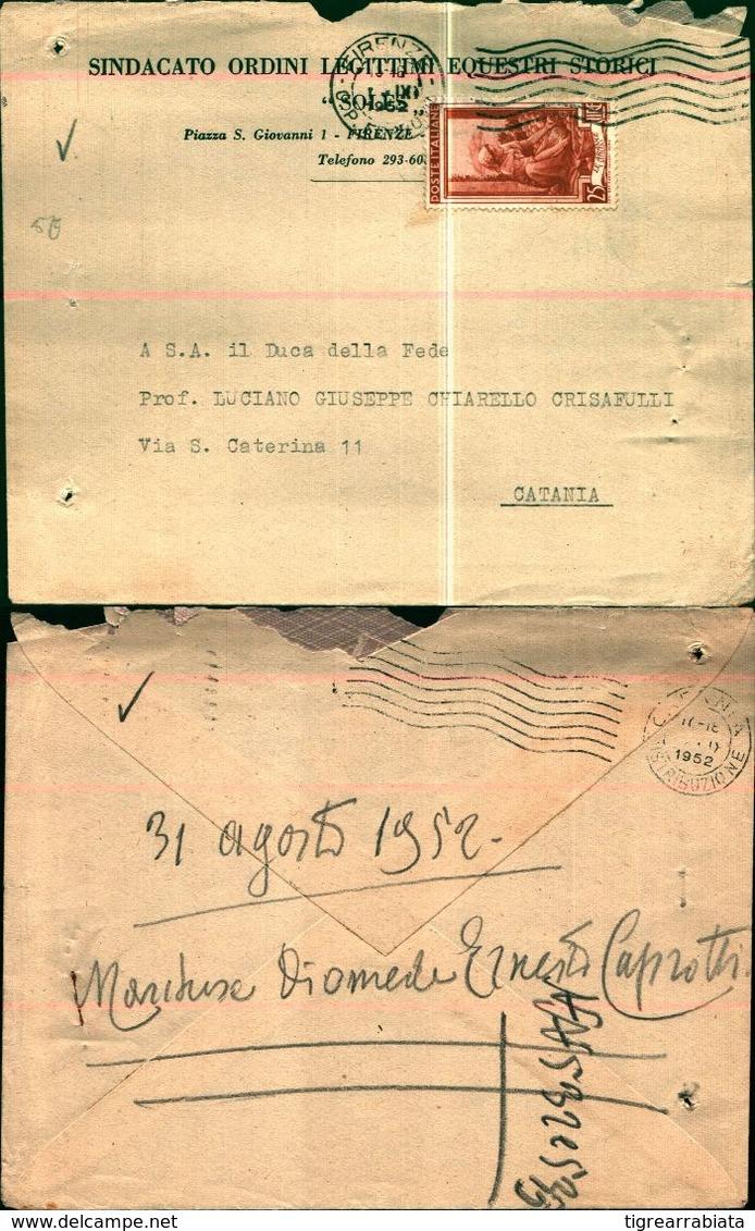 8359a)busta Con 25lire Italia A Lavoro 1952 Da Firenze X Catania - 6. 1946-.. Repubblica
